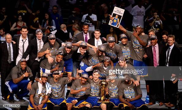 The Golden State Warriors celebrate with the Larry O'Brien NBA Championship Trophy after winning Game Six of the 2015 NBA Finals against the...