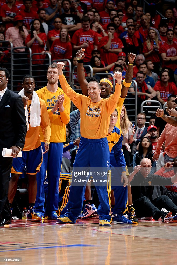 The Golden State Warriors celebrates on the sideline during a game against the Los Angeles Clippers in Game Seven of the Western Conference Quarterfinals during the 2014 NBA Playoffs at Staples Center on May 3, 2014 in Los Angeles, California.