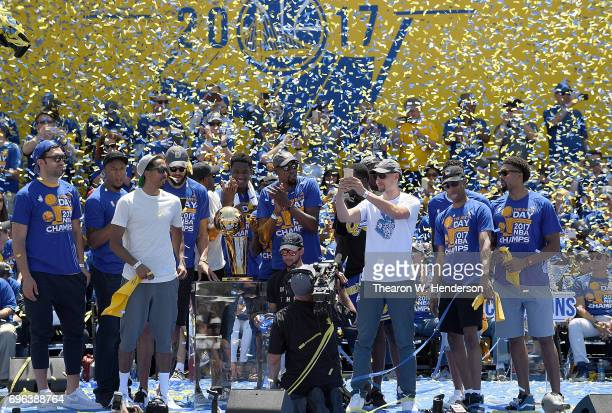 The Golden State Warriors celebrates their 2017 NBA Championship at The Henry J Kaiser Convention Center during thier Victory Parade and Rally on...