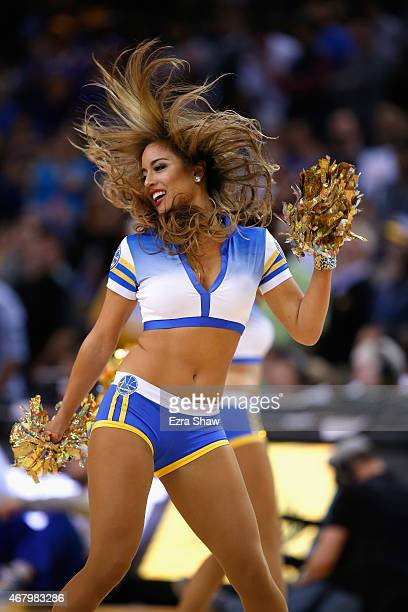 The Golden State Warriors dance team in action during their game against the Los Angeles Lakers at ORACLE Arena on March 16 2015 in Oakland...