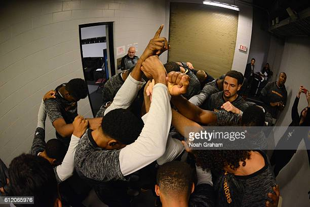 The Golden State Warriors huddle before the game against the Toronto Raptors during a preseason game on October 1 2016 at Rogers Arena in Vancouver...