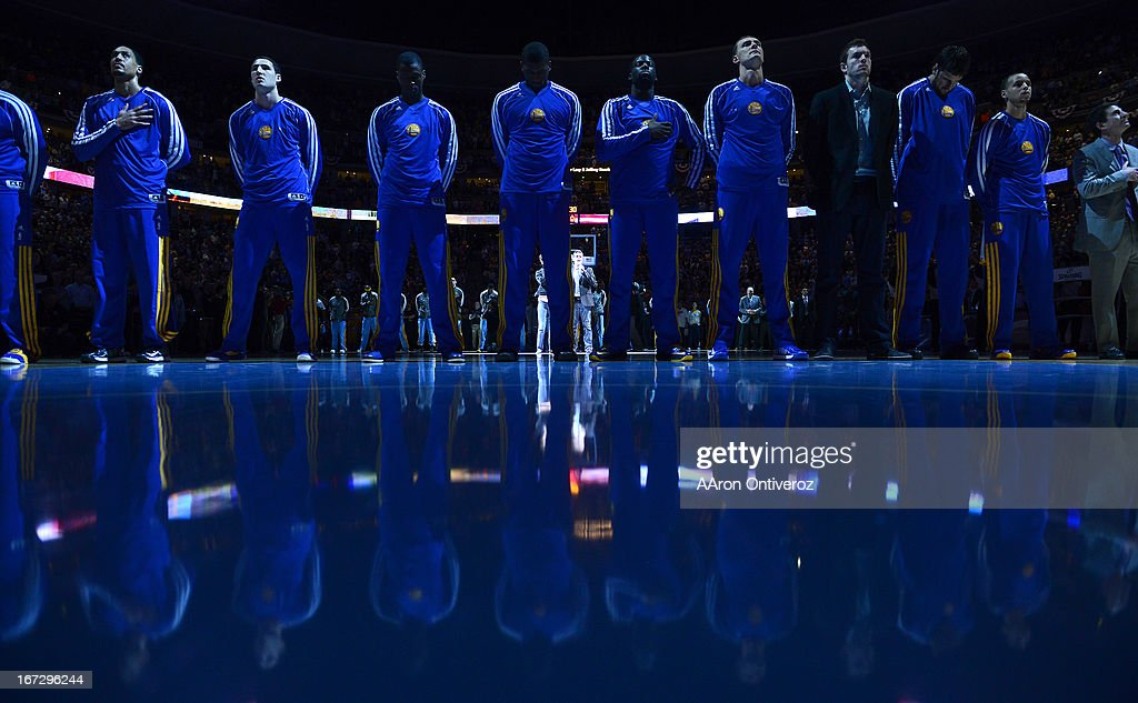 The Golden State Warriors line up for the NAtional Anthem before the game. The Denver Nuggets took on the Golden State Warriors in Game 2 of the Western Conference First Round Series at the Pepsi Center in Denver, Colo. on April 23, 2013.