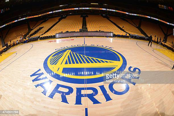 The Golden State Warriors logo before a game against the Houston Rockets in Game Two of the Western Conference Finals of the 2015 NBA Playoffs on May...