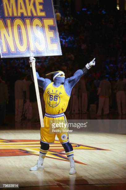The Golden State Warriors mascot entertains the crowd during the game against the Denver Nuggets at Oracle Arena on March 7 2007 in Oakland...