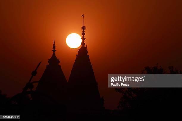 The golden sunset on Monday evening in Vrindavan India Vrindavan is a town in the Mathura district of Uttar Pradesh India Vrindavan town hosts...