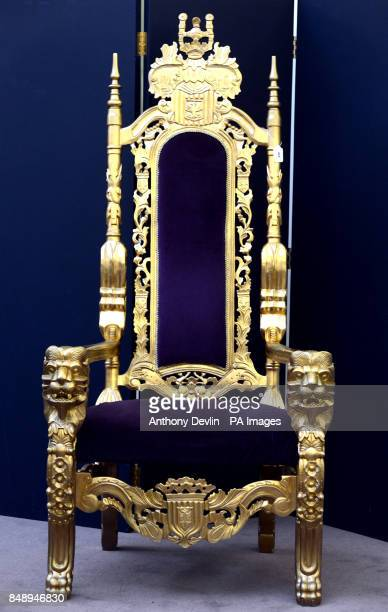 The golden throne that Bradley Wiggins relaxed on after winning the cycling time trial at the London 2012 Olympic Games is offered for sale in a...