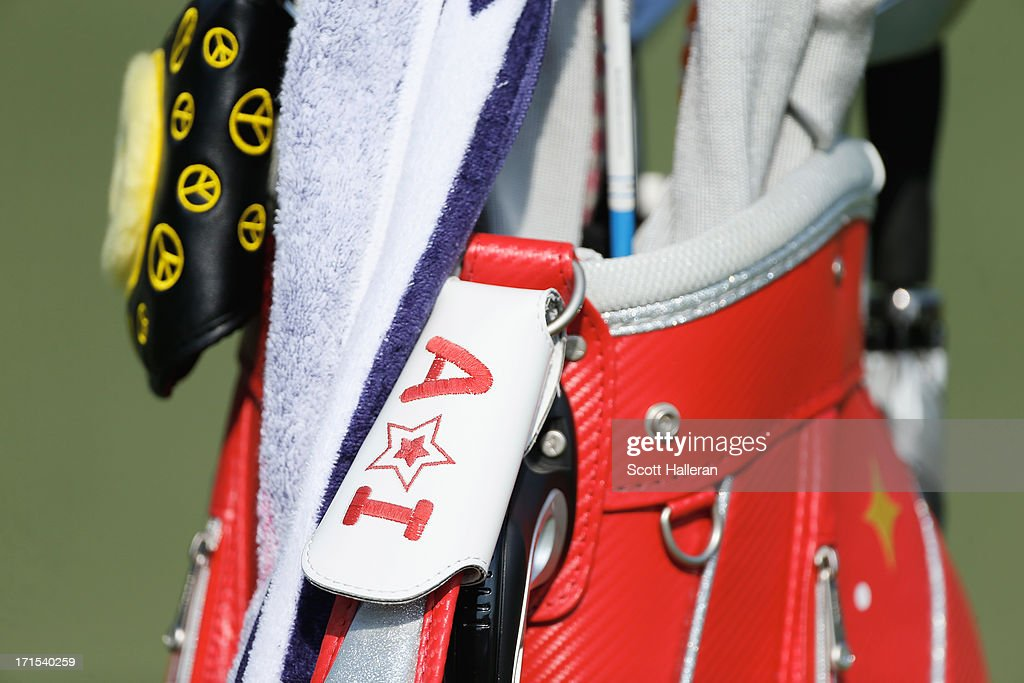 The golf bag of Ai Miyazato of Japan sits on a green during a practice round prior to the start of the 2013 U.S. Women's Open at Sebonack Golf Club on June 26, 2013 in Southampton, New York.