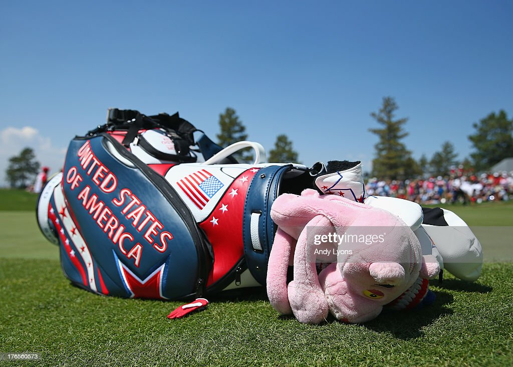 The golf bag of Paula Creamer lays on the side of the green during the practice round for the 2013 Solheim Cup at the Colorado Golf Club on August 15...