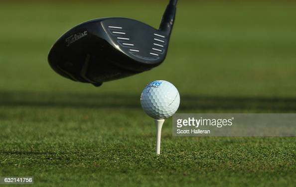 The golf ball and driver of Rafa Cabrera Bello of Spain is seen on the 14th tee during the second round of the Abu Dhabi HSBC Championship at Abu...