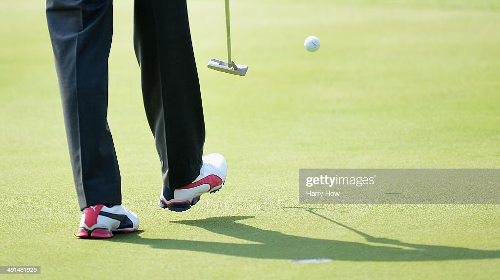The golf shoes of Rickie Fowler of the United States team are seen during a practice round prior to the start of The Presidents Cup at the Jack Nicklaus Golf Club on October 6, 2015 in Incheon City, South Korea.