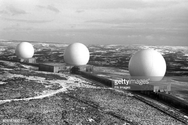 The 'golfball' domes which are duckblue and situated at RAF Fylingdales in the North Yorkshire moors Hidden inside the 'golfballs' are sensitive...