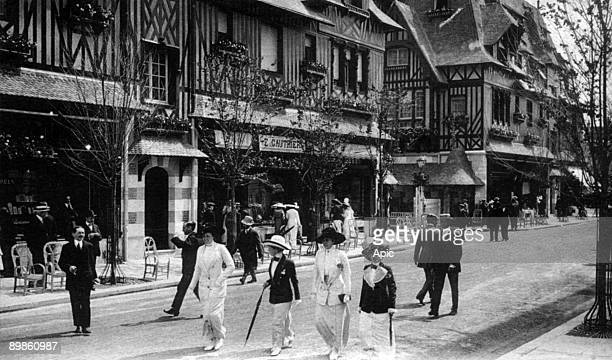the GontautBiron street and the Normandy Hotel in Deauville Normandy France postcard early 20th century