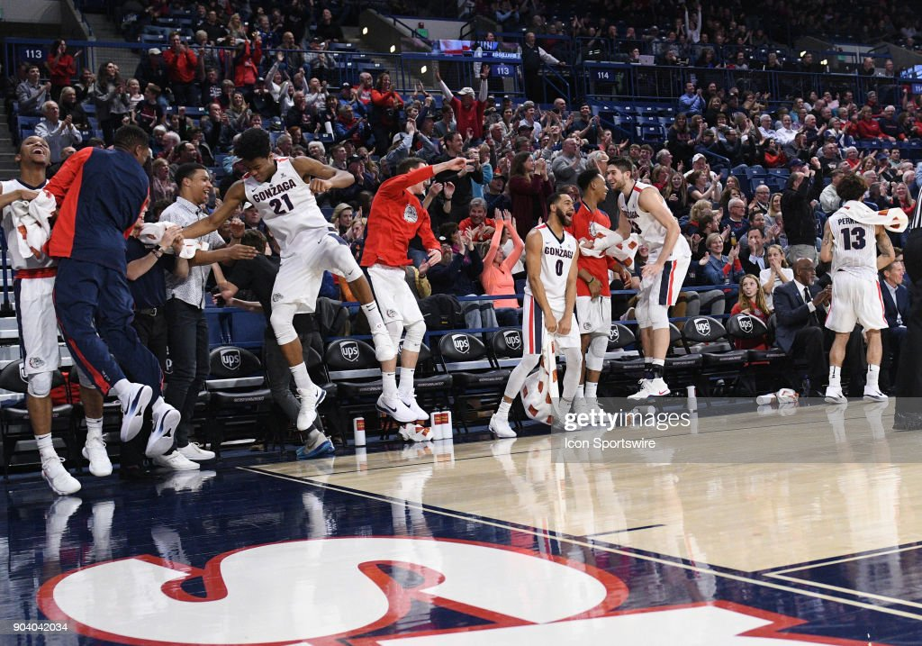 the Gonzaga bench celebrates after former manager and little-used reserve Brian Pete scored during the game between the Portland Pilots and the Gonzaga Bulldogs played on January 11, 2018, at McCarthey Athletic Center in Spokane, WA.