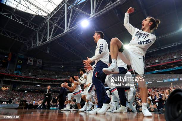 The Gonzaga Bulldogs bench celebrates in the second half against the South Carolina Gamecocks during the 2017 NCAA Men's Final Four Semifinal at...