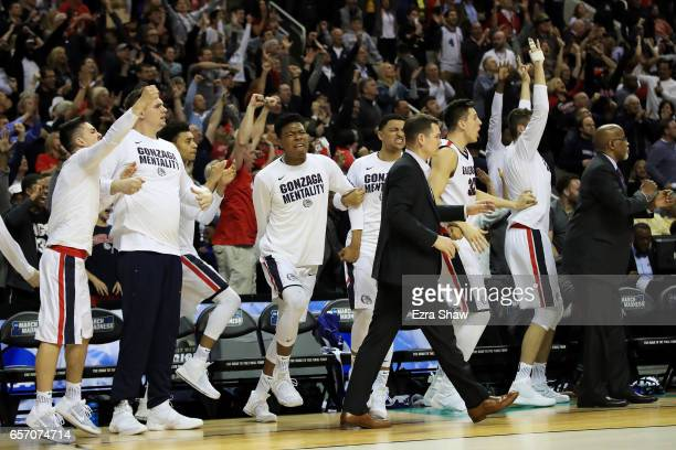 The Gonzaga Bulldogs bench reacts late in the second half against the West Virginia Mountaineers during the 2017 NCAA Men's Basketball Tournament...