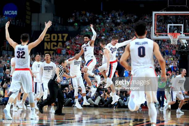 The Gonzaga Bulldogs celebrate after defeating the South Carolina Gamecocks during the 2017 NCAA Men's Final Four Semifinal at University of Phoenix...
