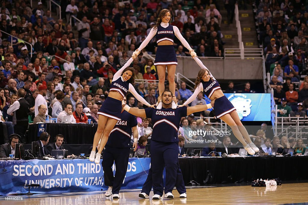 The Gonzaga Bulldogs cheerleaders perform during a break in the game against the Wichita State Shockers during the third round of the 2013 NCAA Men's Basketball Tournament at EnergySolutions Arena on March 23, 2013 in Salt Lake City, Utah.