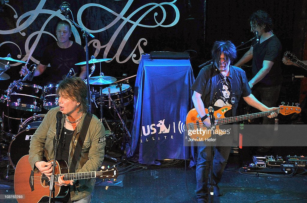 The Goo Goo Dolls drummer <a gi-track='captionPersonalityLinkClicked' href=/galleries/search?phrase=Mike+Malinin&family=editorial&specificpeople=883519 ng-click='$event.stopPropagation()'>Mike Malinin</a>, keyboardist Korel Tunador, (Front Row L-R) lead vocalist <a gi-track='captionPersonalityLinkClicked' href=/galleries/search?phrase=John+Rzeznik&family=editorial&specificpeople=220876 ng-click='$event.stopPropagation()'>John Rzeznik</a> and bass guitarist <a gi-track='captionPersonalityLinkClicked' href=/galleries/search?phrase=Robby+Takac&family=editorial&specificpeople=778886 ng-click='$event.stopPropagation()'>Robby Takac</a> perform as part of SIRIUS XM's Coffee House Live series at the Troubadour on August 31, 2010 in Los Angeles, California.