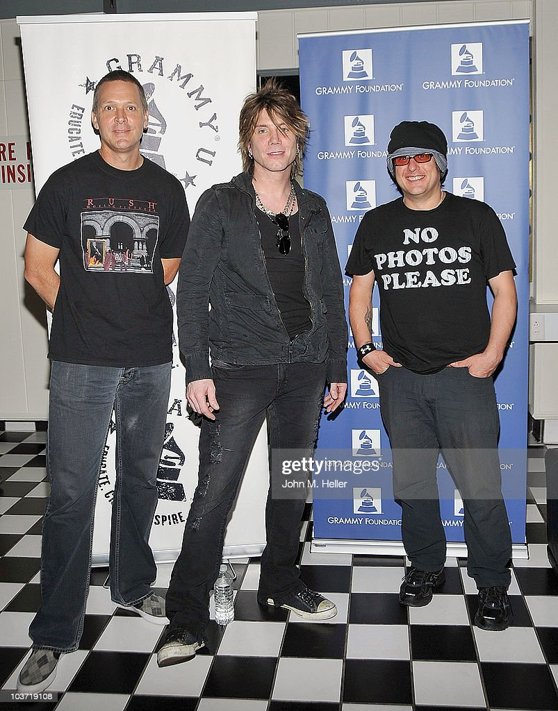 The Goo Goo Dolls (L-R) Drums Mike Malinin, Lead Vocals and Guitar Johnny Rzeznik and Bassist Robby Takac pose at the Greek Theater on August 29, 2010 in Los Angeles, California.
