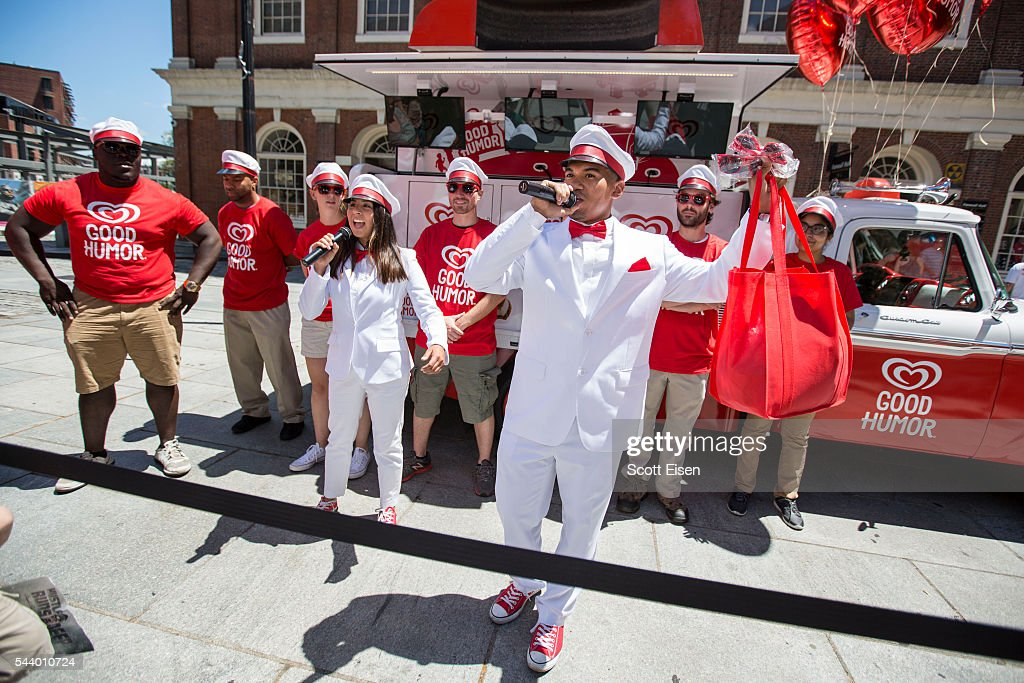 The Good Humor Man and Good Humor Woman celebrate the launch of the Boston leg of the Good Humor Welcome to Joyhood campaign in Boston on June 30, 2016. Follow @GoodHumor on Twitter as the Joy Squad travels to other cities this summer.