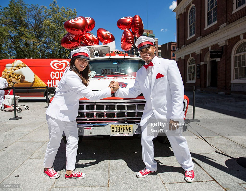 The Good Humor Man and Good Humor Woman help kick off the Boston leg of the Welcome to Joyhood tour at an event on June 30, 2016 at Same Adams Statue Fanueil Hall.