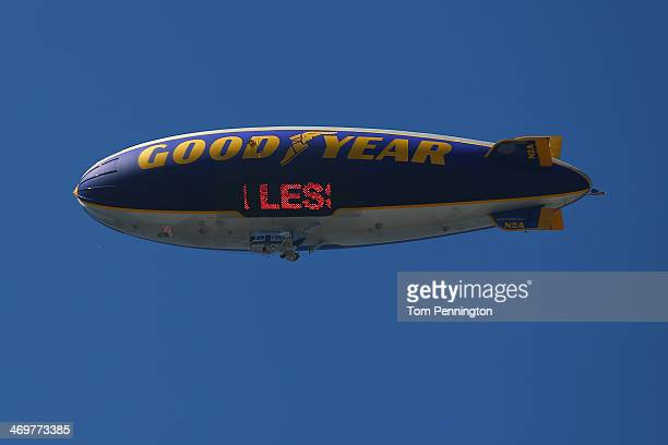 The Goodyear blimp flies overhead during qualifying for the NASCAR Sprint Cup Series Daytona 500 at Daytona International Speedway on February 16...