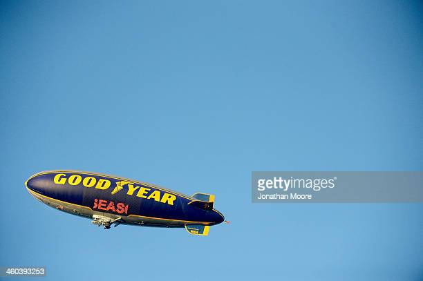 The Goodyear blimp is seen during the 100th Rose Bowl Game presented by Vizio at the Rose Bowl on January 1 2014 in Pasadena California