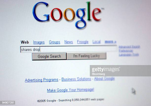 The Google home page is seen in an illustration from a computer screen in Frankfurt Germany Friday July 22 2005 Shares of Google Inc the No 1...