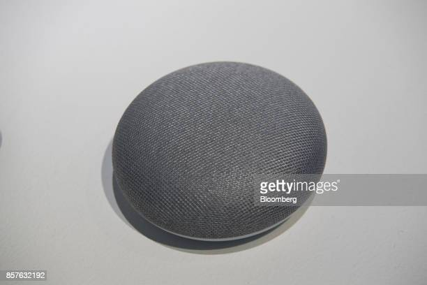 The Google Inc Home Mini voice speaker is displayed during a product launch event in San Francisco California US on Wednesday Oct 4 2017 Google...