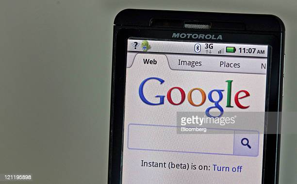 The Google Inc homepage is seen on a Motorola Holdings Inc mobile device running on Google's Android software in Park Ridge Illinois US on Monday Aug...