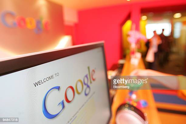 The Google Inc logo is displayed in the company's offices in Taipei Taiwan on Monday May 5 2008 Microsoft Corp's decision to drop its pursuit of...