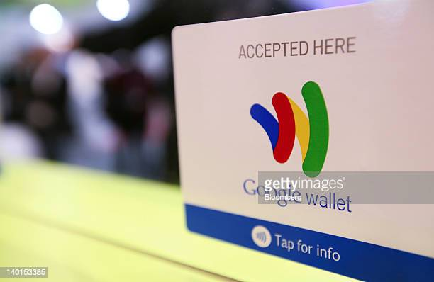 The Google Inc Mobile Wallet card for cardless payment sits on display at the Mobile World Congress in Barcelona Spain on Wednesday Feb 29 2012 The...