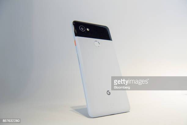 The Google Inc Pixel 2 XL smartphone is displayed during a product launch event in San Francisco California US on Wednesday Oct 4 2017 Google...