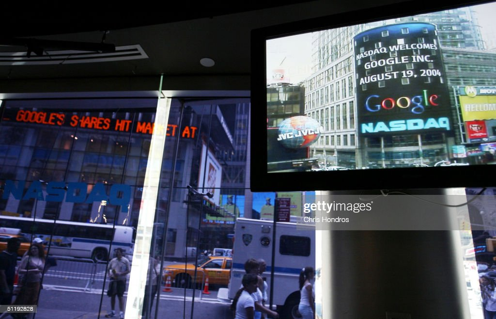 The Google logo appears on a screen and ticker inside the NASDAQ Marketsite just before the markets close August 19, 2004 in New York City. Shares of Google Inc. closed at 100.34, or $15.34 higher than it opened.