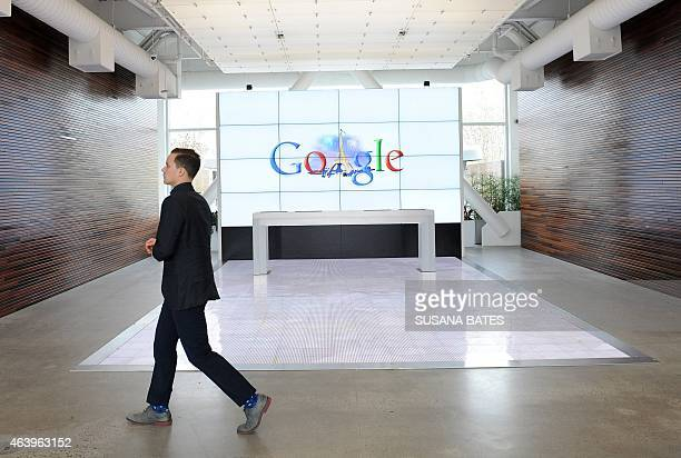 The Google logo features the Eiffel Tower on the Google campus in Mountain View CA on February 20 2015 French Interior Minister Bernard Cazeneuve had...