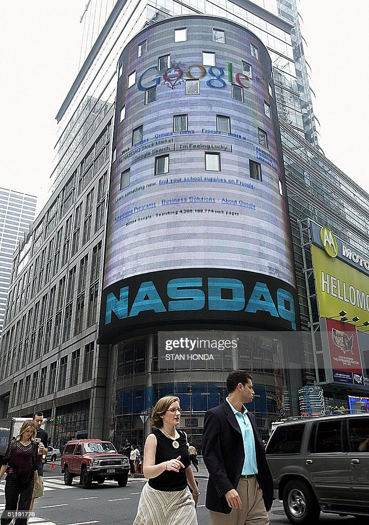 The Google logo is displayed on a giant screen outside the Nasdaq Market Site studios in New York's Times Square after trading started, 19 August, 2004, on the Nasdaq stock exchange. Google, making the biggest Internet float since the 1990s technology bubble, opened at 100.01 USD. Within an hour, more than 12 million shares had changed hands. The world's leading Internet search engine spiked to 103.42 USD and was trading early afternoon at 103.15 USD, valuing the entire company at 28 billion dollars. AFP PHOTO/Stan HONDA