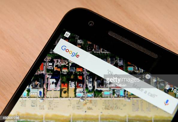 The Google logo is displayed on the new Nexus 5X phone during a Google media event on September 29 2015 in San Francisco California Google unveiled...