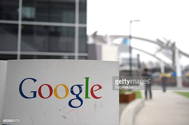 The Google logo is seen on the Google campus in Mountain View California on February 20 2015 French Interior Minister Bernard Cazeneuve had a meeting...