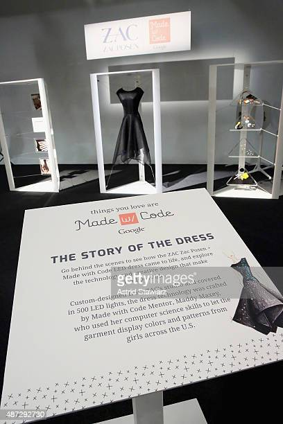 The Google Made With Code LED Dress on display at the ZAC Zac Posen SS16 NYFW show in partnership with Google Made With Code at Industria Studios on...