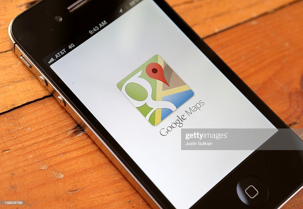 The Google Maps app is seen on an Apple iPhone 4S on December 13, 2012 in Fairfax, California. Three months after Apple removed the popular Google Maps from its operating system to replace it with its own mapping software, a Google Maps app has been added to the iTunes store. Apple Maps were widely panned in tech reviews and among customers, the fallout resulting in the dismissal of the top executive in charge of Apple's mobile operating system.