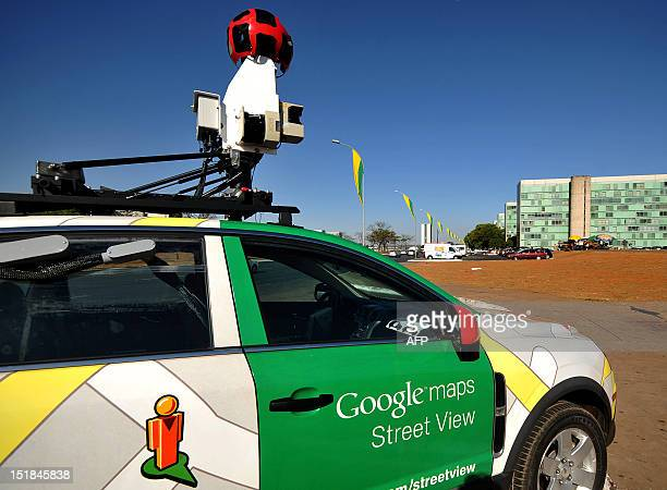The Google street view mapping and camera charts the streets of Brasília Brazil's capital on September 6 2011 AFP PHOTO/Pedro LADEIRA