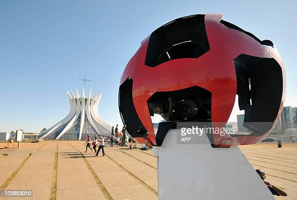 The Google street view mapping and camera vehicle drives in front of Brasilia's cathedral as it charts the streets of Brasília Brazil's capital on...