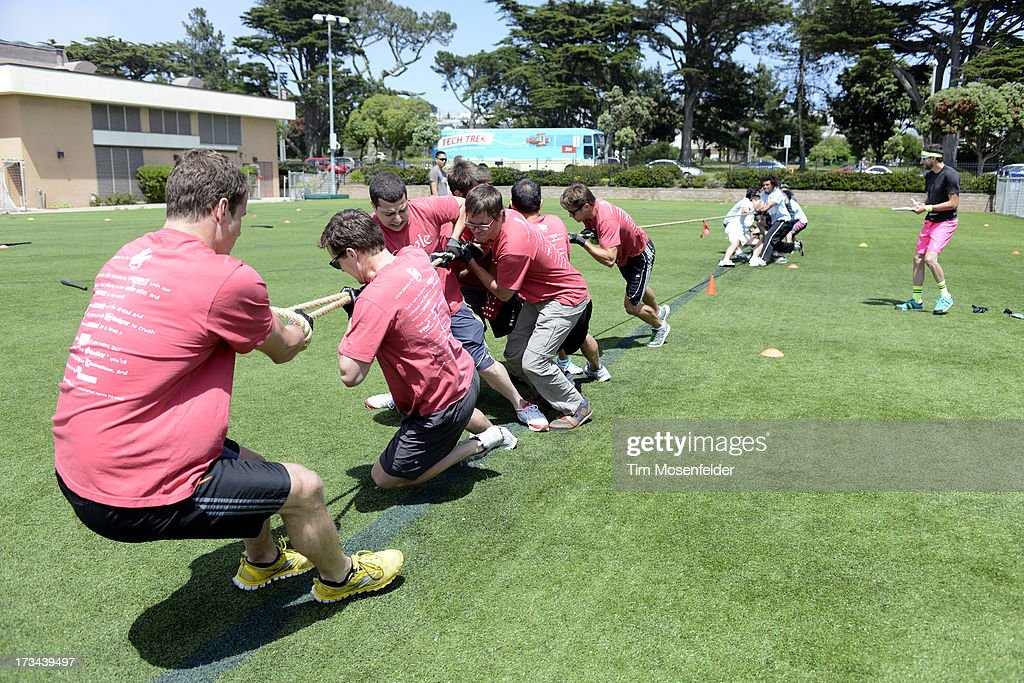 The Google team competes at the Founder Institute's Silicon Valley Sports League on July 13, 2013 in San Francisco, California.