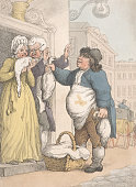 The Goose Seller a color aquatint by Rowlandson 1799