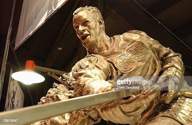 The Gordie Howe Statue is displayed inside Joe Louis Arena before the Calgary Flames game against the Detroit Red Wings in game one of 2007 Western...