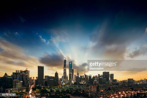 the gorgeous panoramic night view of Shanghai