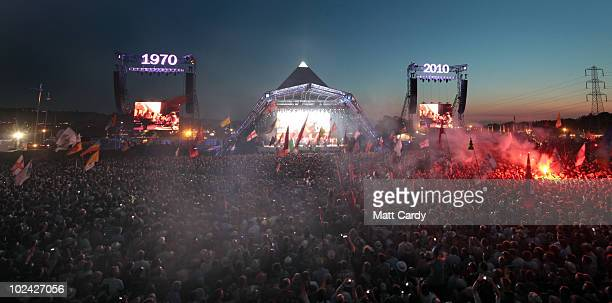 The Gorillaz perform on the Pyramid Stage at Glastonbury Festival at Worthy Farm Pilton on June 25 2010 in Glastonbury England The gates opened on...