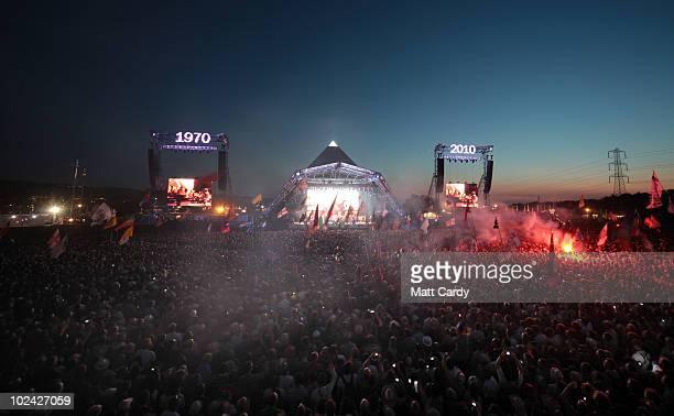 The Gorillaz perform on the Pyramid Stage at Glastonbury Festival at Worthy Farm Pilton on June 25 2010 in Glastonbury England The gates opened on...