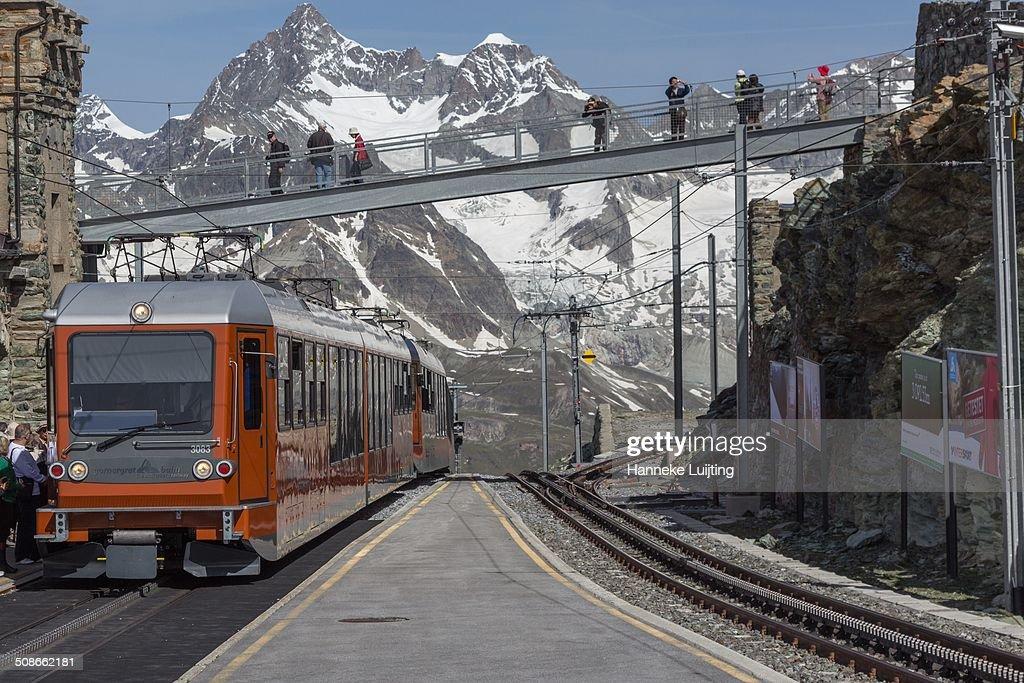 The Gornergrat Railway from Zermatt to Gornergrat (3089 m), Switzerland. This is the second highest railway in Europe (after Jungfrau). Company: Gornergrat Bahn AG. Country: Switzerland