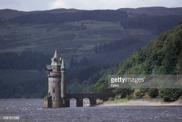 The Gothic Straining Tower in the Victorian reservoir of Lake Vyrnwy in Wales August 1970 It was built between 1881 and 1888